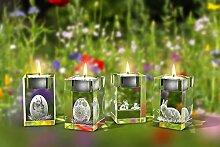 GLASFOTO.COM, Ostern 4er Teelichthalterset, 50 x