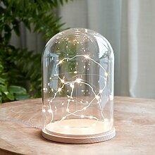 Glasglocke 20cm mit 20er LED Micro Lichterkette