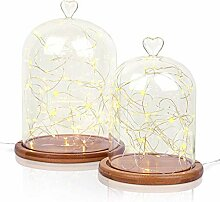 Glasglocke mit Bambus-Boden, 2Größen und