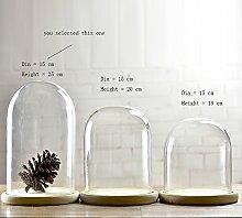 Glasglocke mit Holztablett, Durchmesser: 15cm,