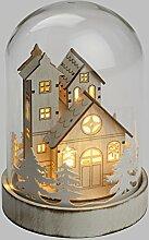 Glasglocke mit Weihnachtsdorf h 18 cm, 3 LEDs warmweiß, batteriebetrieben