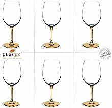 GlasGo Design Weinglas, 6er Set Rotwein Gläser, sehr hochwertig und edel. Farbe, farbig, bunt, stilvolle Impressionen, tolles Ambiente
