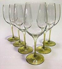 GlasGo® Prime-Versand Design Weinglas olive, 6er Set Gläser Rotwein, Weißwein, hochwertig und edel. Farbe, farbig, bunt, stilvolle Impressionen, tolles Ambiente