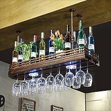 Glashalter, Glashalter, Weinregale | Weinglas-Halter, Champagner-Glashalter und Lampen, für Wohnzimmer Ess-Bars -Weinglasgestell (Farbe : Braun, größe : 100*27cm)