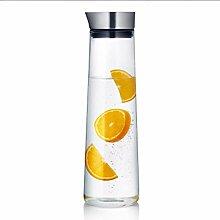 Glaskanne mit Deckel Wasserkrug Glaskaraffe