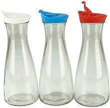 Glaskaraffe mit Deckel 1 Liter 3 Stück