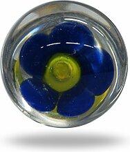 Glasknäufe für Schranktüren, Blau/Gelb, Set of