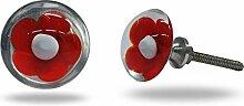 Glasknäufe für Schranktüren, rot, Set of 12