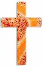 Glaskreuz handgearbeitet rot/orange