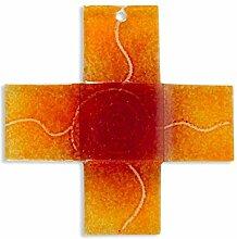Glaskreuz Spirale orange, Breite 4 cm