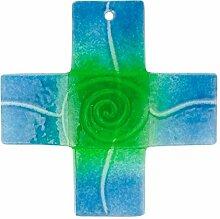 Glaskreuz türkis/grün, Breite 4 cm