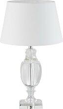 Glaslampe mit weißem Lampenschirm
