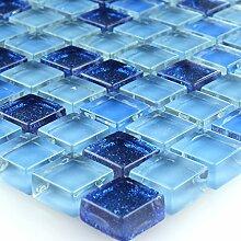 Glasmosaik Fliesen Blau Glitzer 15x15x8mm