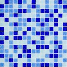 Glasmosaik Fliesen dunkelblau blau Mix Wand Boden