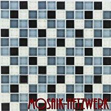 Glasmosaik Fliesen grau weiß Wand Boden Dusche WC