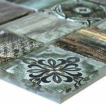 Glasmosaik Fliesen Holzoptik Makarska Braun Grün