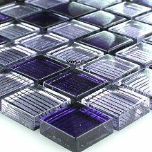 Glasmosaik Fliesen Lila Gestreift 23x23x8mm