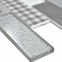 Glasmosaik Fliesen Lunatic Retrooptik Brick Grau