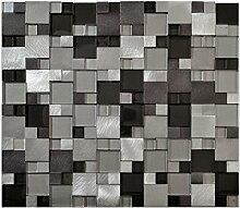 Glasmosaik Fliesen metall grau Wand Boden Dusche