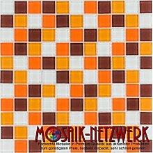 Glasmosaik Fliesen orange braun weiß Wand Boden