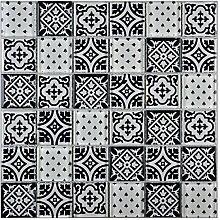 Glasmosaik Fliesen retro schwarz weiß Wand Boden