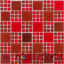 Glasmosaik Fliesen rot perlmutt Wand Boden Dusche