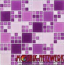 Glasmosaik Fliesen violett mix Wand Boden Dusche