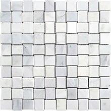 Glasmosaik Fliesen weiß poliert Wand Boden Dusche