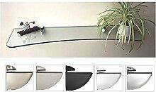 Glasregal 90 konkav Klarglas 8 mm /Cliphalterung