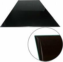 Glasscheibe Glasplatte Schwarz Rechteck 100 x 60 cm Funkenschutzplatte Glasboden Bodenplatte für Kamin Ofen Glas Glasbodenplatte Kaminbodenplatte Funkenschutz Kaminofen 6 mm Sicherheitsglas
