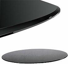 Glasscheibe Glasplatte Schwarz Rund 90 cm