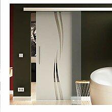 Glasschiebetür 102,5x205 cm in ESG-Milchglas mit