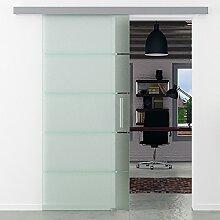 Glasschiebetür 900x2050 mm 5 waagerechte Streifen