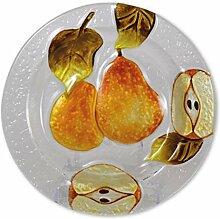 Glasserie Früchte Birnen, Glasplatte rund 20cm
