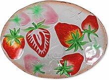 Glasserie Früchte Erdbeeren, Glasplatte oval 30cm