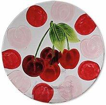 Glasserie Früchte Kirsche, Glasplatte rund 25cm