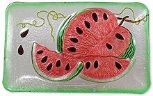 Glasserie Früchte Melone, Glasplatte rechteckig