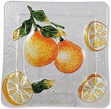 Glasserie Früchte Orangen, Glasplatte quadratisch