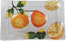 Glasserie Früchte Orangen, Glasplatte rechteckig