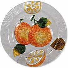 Glasserie Früchte Orangen, Glasplatte rund 20cm