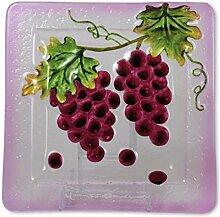 Glasserie Früchte Wein, Glasplatte quadratisch