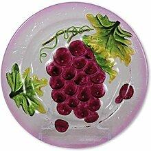 Glasserie Früchte Wein, Glasplatte rund 20cm