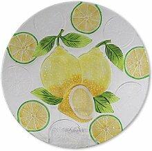 Glasserie Früchte Zitrone, Glasplatte rund 30cm