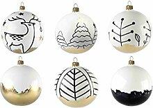 GLASSOR Glas Weihnachtskugeln Set mit 6