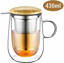 Glastal 430ml Doppelwandige Glas Teetasse mit