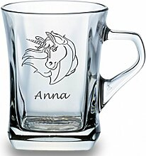 Glastasse mit Einhorn für Tee oder Kaffee