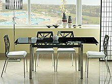 Glastisch 'Miami' Küchentisch 74x170cm ausziehbar auf 170cm, Farbe:Schwarz
