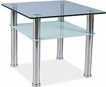 Glastisch Pedro C Couchtisch Chrom Glas 60x60 Hohe 50cm
