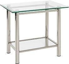 Glastisch aus Stahl und Sicherheitsglas modern