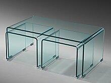 Glastisch Couchtisch Beistelltisch 3er Set gebogen